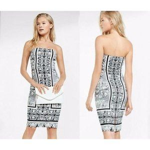 Express Strapless Placed Scroll Print Tube Dress 4
